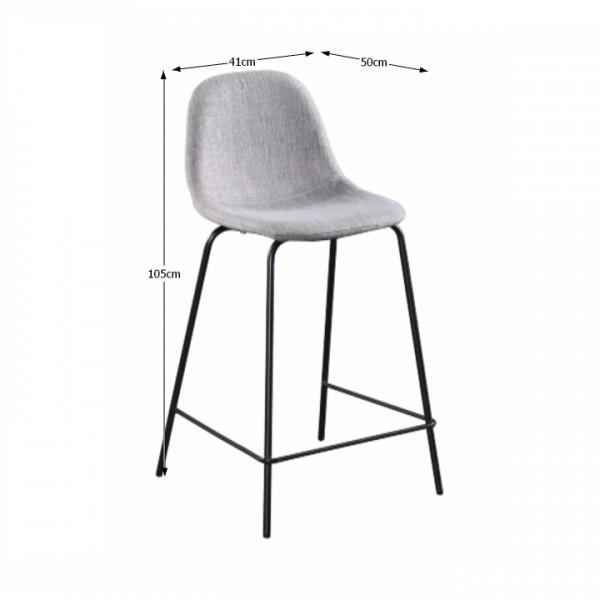 Barová stolička, svetlosivá látka/kov, MARIOLA NEW