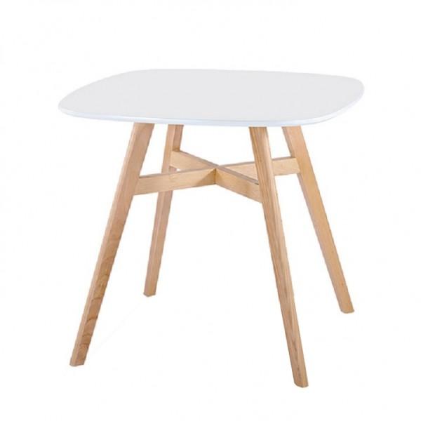 Jedálenský stôl, biela/prírodná, DEJAN NEW