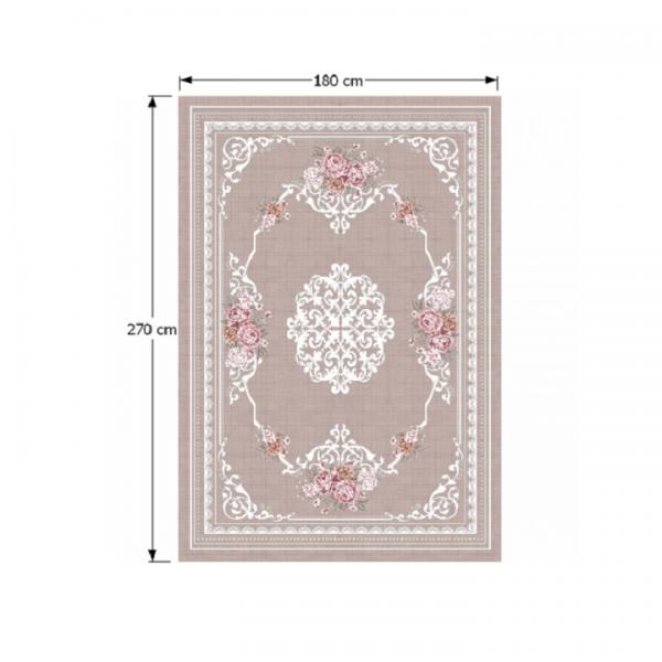 Koberec, svetlohnedý/vzor kvety, 180x270, SEDEF