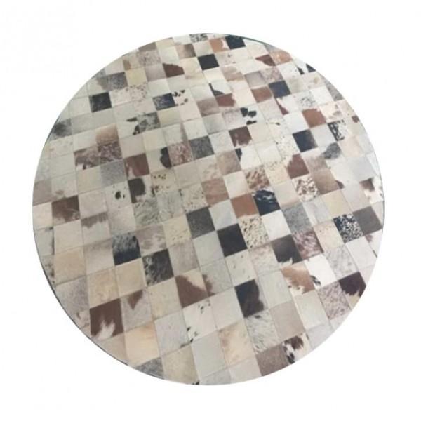 Luxusný kožený koberec, biela/sivá/hnedá, patchwork, 200x200, KOŽA TYP 10
