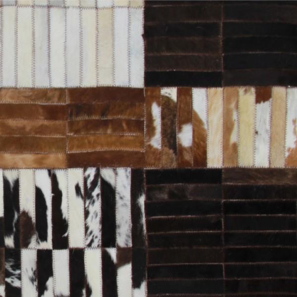 Luxusný kožený koberec, čierna/hnedá/biela, patchwork, 69x140, KOŽA TYP 4