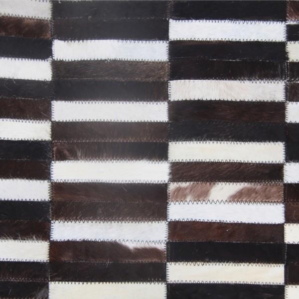 Luxusný kožený koberec, hnedá/čierna/biela, patchwork, 201x300, KOŽA TYP 6