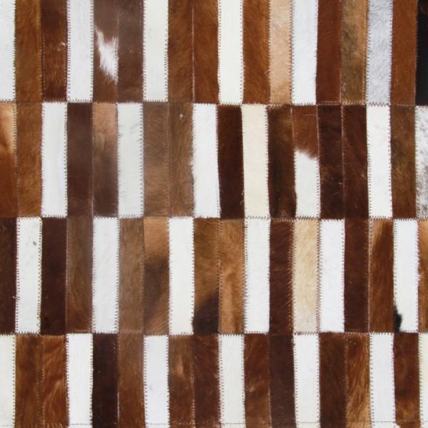 Luxusný kožený koberec, hnedá/biela, patchwork, 120x180, KOŽA TYP 5
