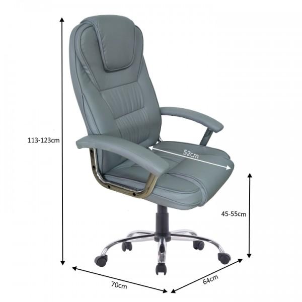 Kancelárske kreslo, svetlosivá/chróm, SAFIN