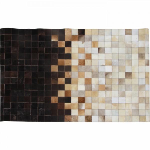 Luxusný kožený koberec, biela/hnedá/čierna, patchwork, 70x140, KOŽA TYP 7