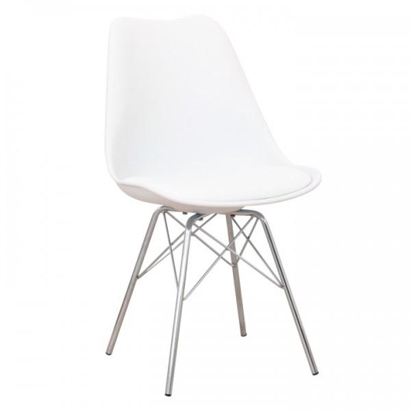 Stolička, biela/chróm, TAMORA