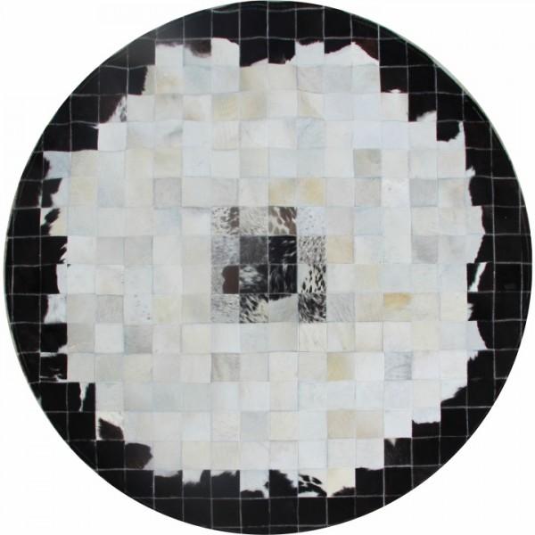 TEMPO KONDELA Luxusný kožený koberec, čierna/béžová/biela, patchwork, 200x200, KOŽA TYP 9