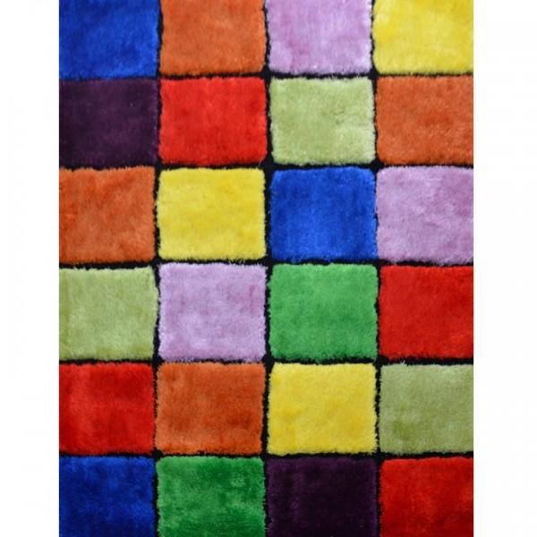 Koberec, červená/zelená/žltá/fialová, 170x240, LUDVIG TYP 4
