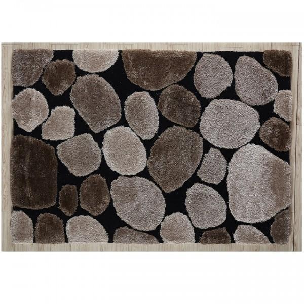 Koberec, hnedá/čierna, 120x180, PEBBLE TYP 2