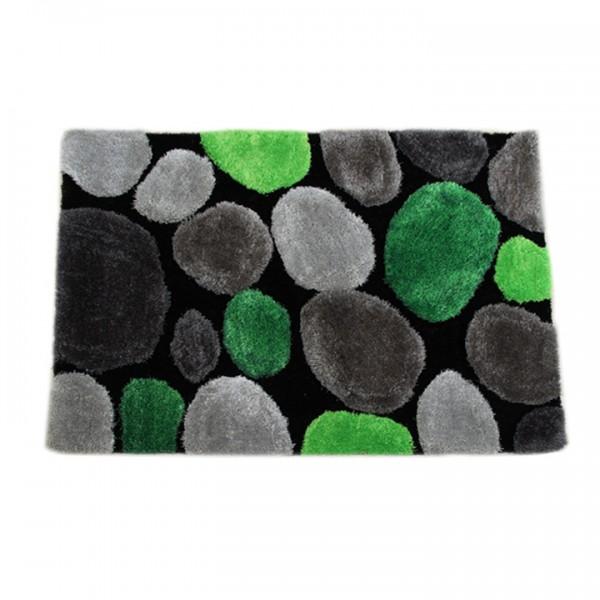 Koberec, zelená/sivá/čierna, 140x200, PEBBLE TYP 1