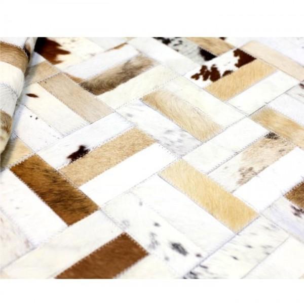 Luxusný kožený koberec, biela/sivá/hnedá, patchwork, 200x300, KOŽA typ 1