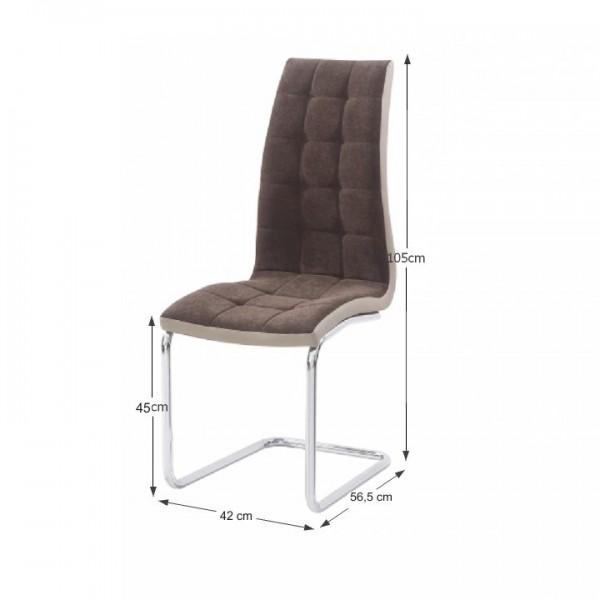 Jedálenská stolička, hnedá látka/ekokoža béžová/chróm, SALOMA NEW