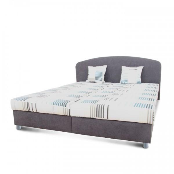 Manželská posteľ, sivá/vzor, 160x200, MADIA