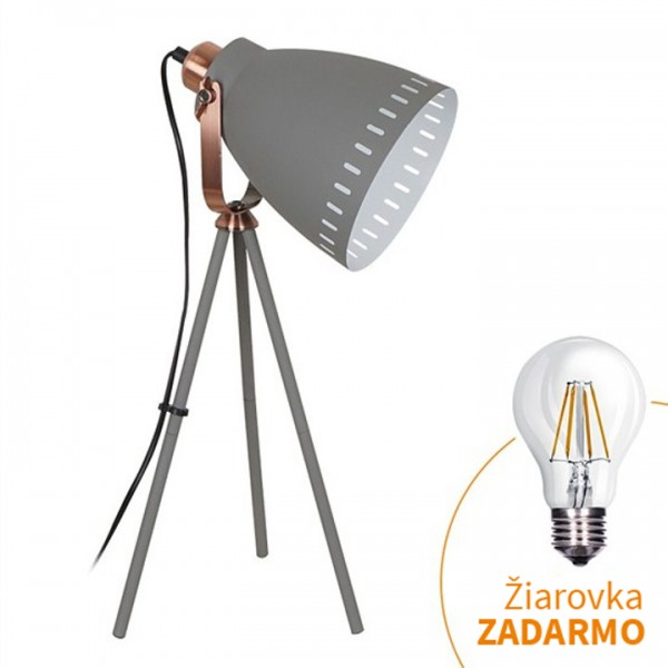 Stolná lampa, sivá, TORINO WA002-G
