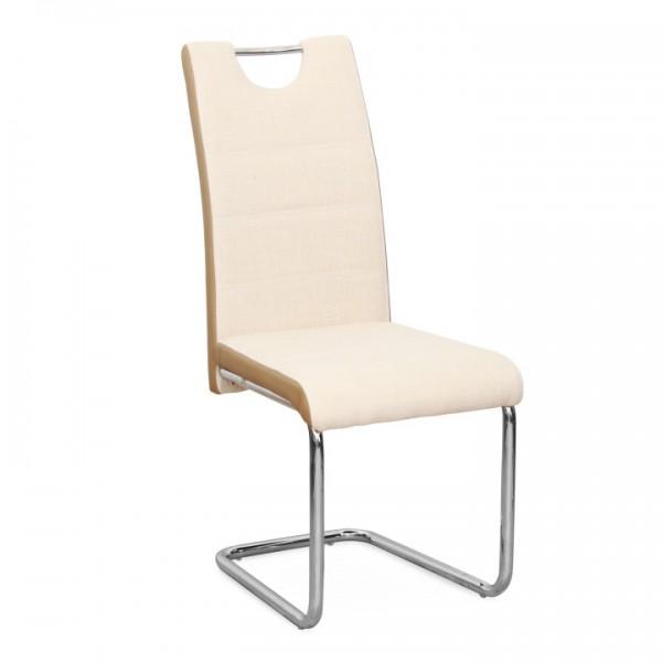 Stolička, látka béžová/ekokoža béžová/chróm, IZMA