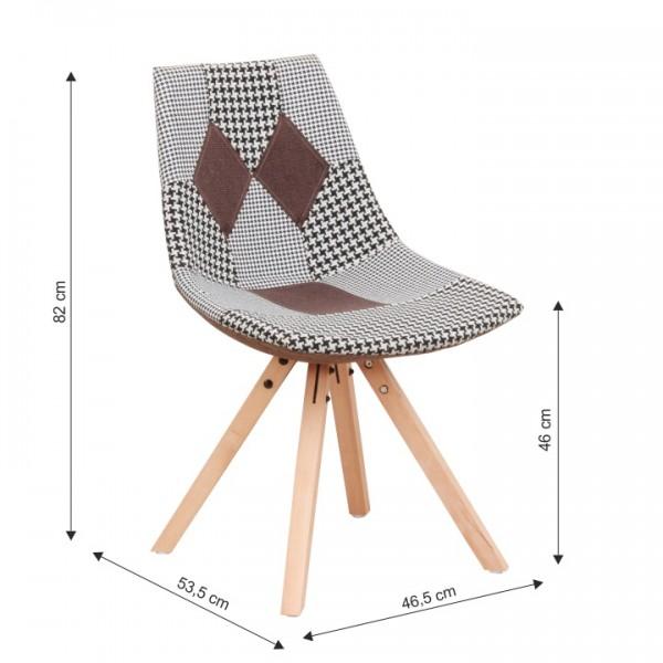 Dizajnová stolička, látka patchwork, PEPITO NEW TYP 10