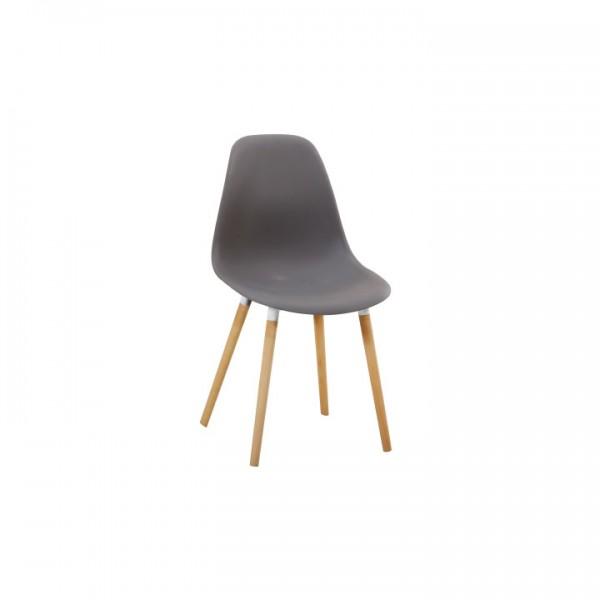 Stolička, studená sivá plast/buk, KALISA