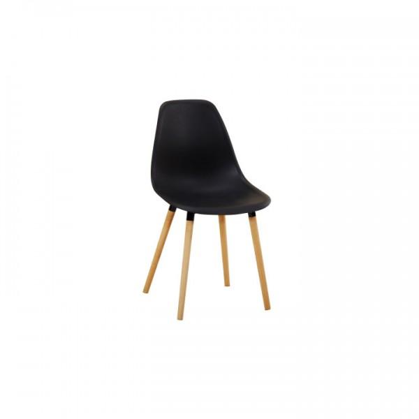 Stolička, čierna plast/buk, KALISA