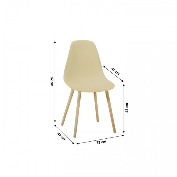 Stolička, capuccino plast/buk, KALISA
