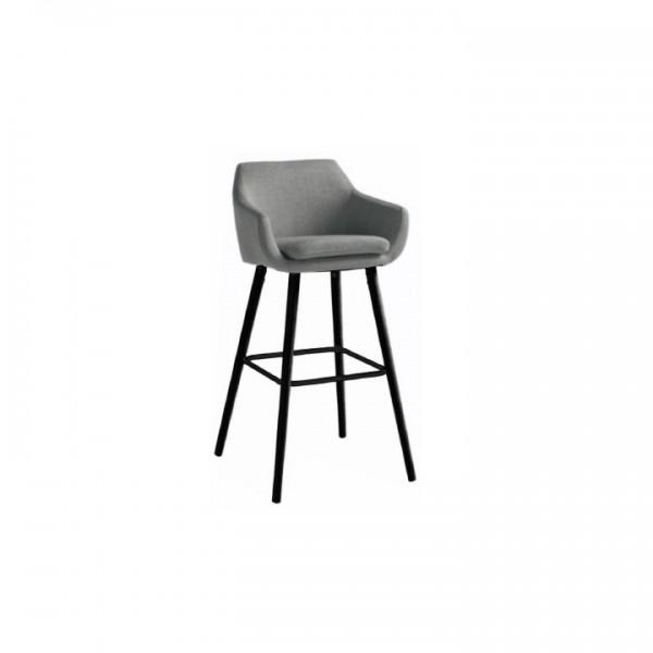 Barová stolička, sivohnedá látka/čierna, TAHIRA