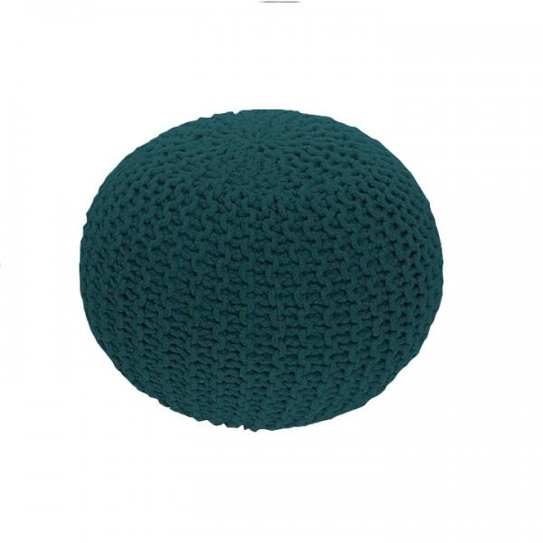 Pletený taburet, petrolejová bavlna, GOBI TYP 2