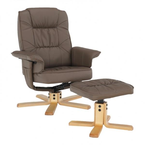 TEMPO KONDELA Relaxačné kreslo s podnožou, cappucino, LERATO