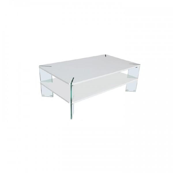 Konferenčný stolik, biela HG s leskom/biela, MABILO