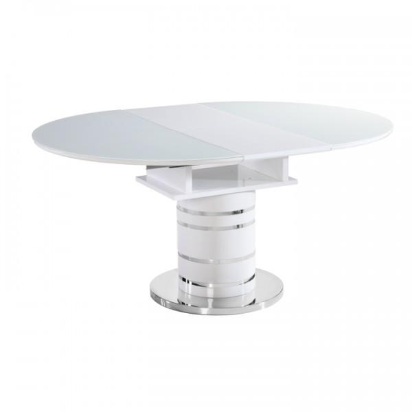 Jedálenský stôl rozkladací, biela vysoký lesk HG, ZAMON