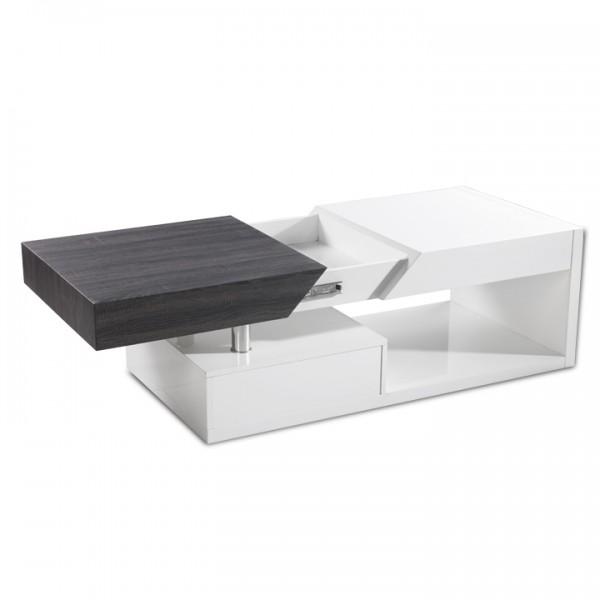 Konferenčný stolík, biely lesk/sivočierna s kresbou dreva, MELIDA