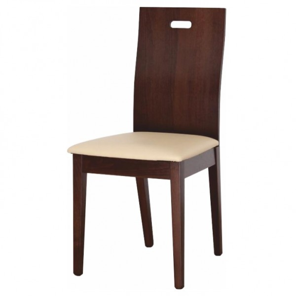 Drevená stolička, orech/ekokoža béžová, ABRIL