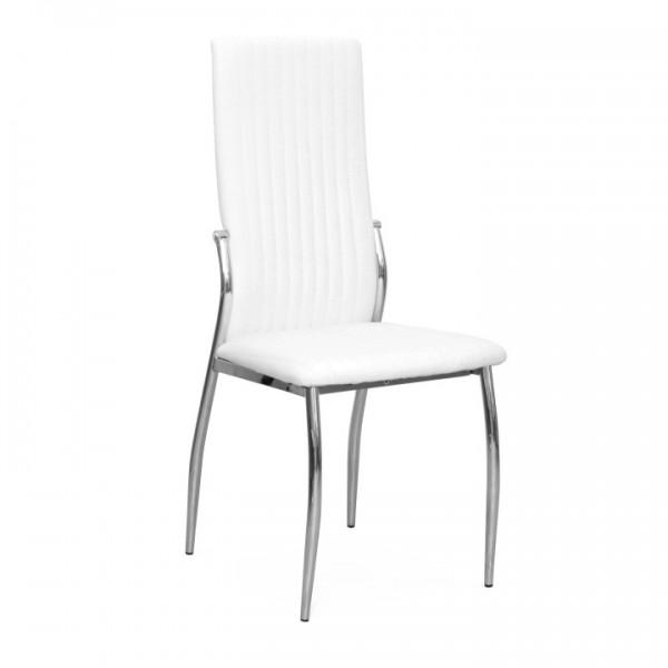 Stolička, ekokoža biela/chróm, MALISA NEW