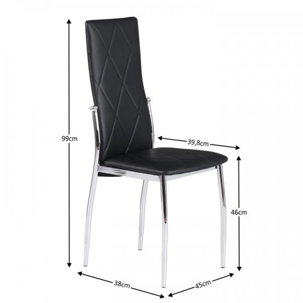 Stolička, ekokoža čierna/chróm, MALISA New