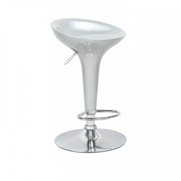 TEMPO KONDELA Barová stolička, strieborný plast/chróm, INGE 2 NEW