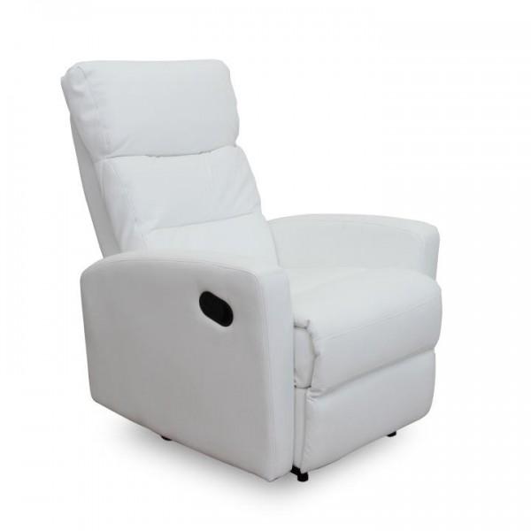 TEMPO KONDELA Relaxačné kreslo, ekokoža biela, SILAS