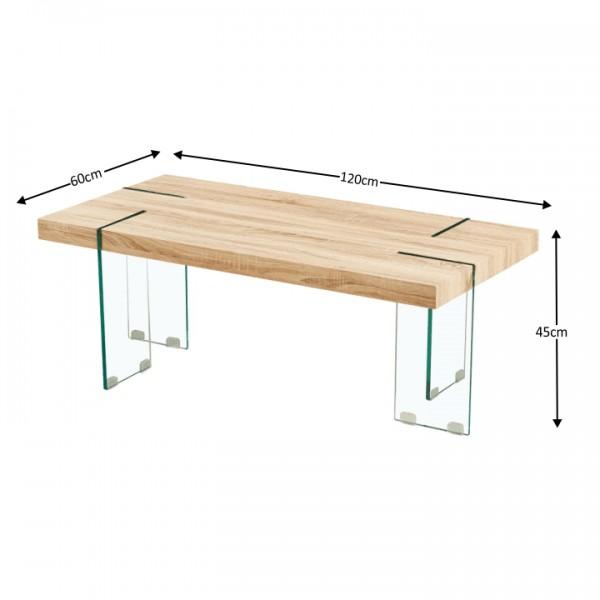 Konferenčný stolík, dub sonoma/číre sklo, PROSPER