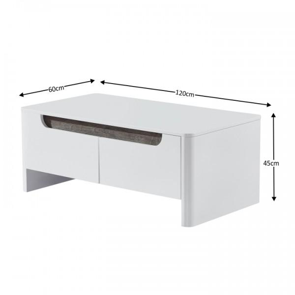 Konferenčný stolík, biela/biela extra vysoký lesk HG, GARNER