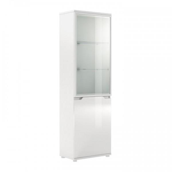 TEMPO KONDELA Vitrína s LED osvetlením, biela/biela s extra vysokým leskom, ADONIS AS 10