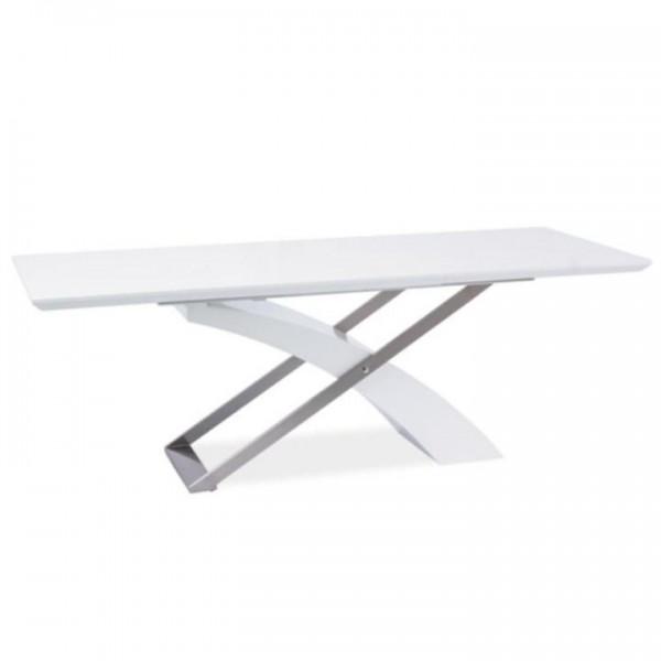 Jedálenský stôl, biela/biela extra vysoký lesk HG, KROS