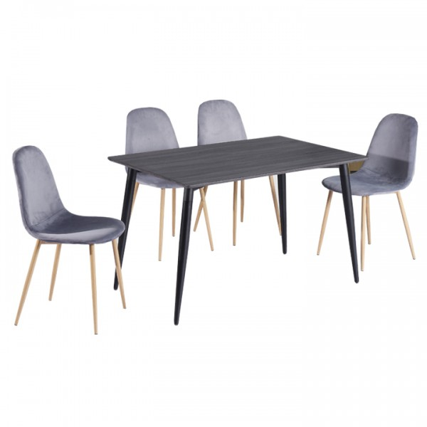 Jedálenský stôl, MDF/čierna, KABOR