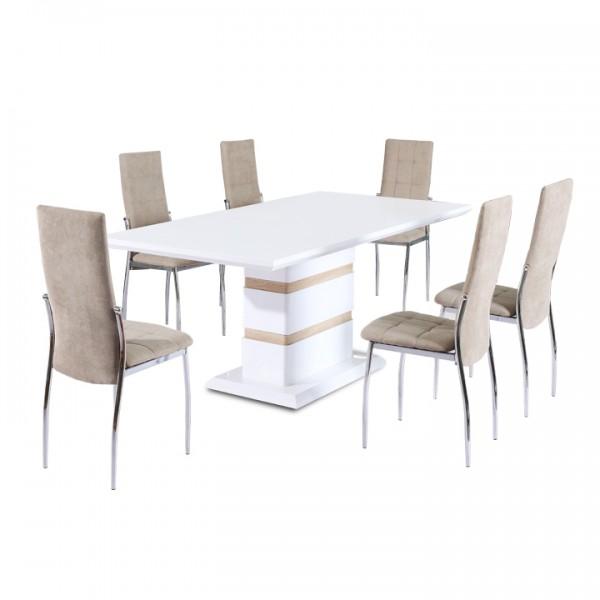 Jedálenský stôl, biela lesk HG, MADOS