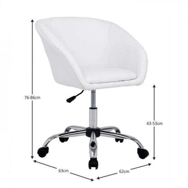 Kancelárske kreslo, biela ekokoža/kov, LENER