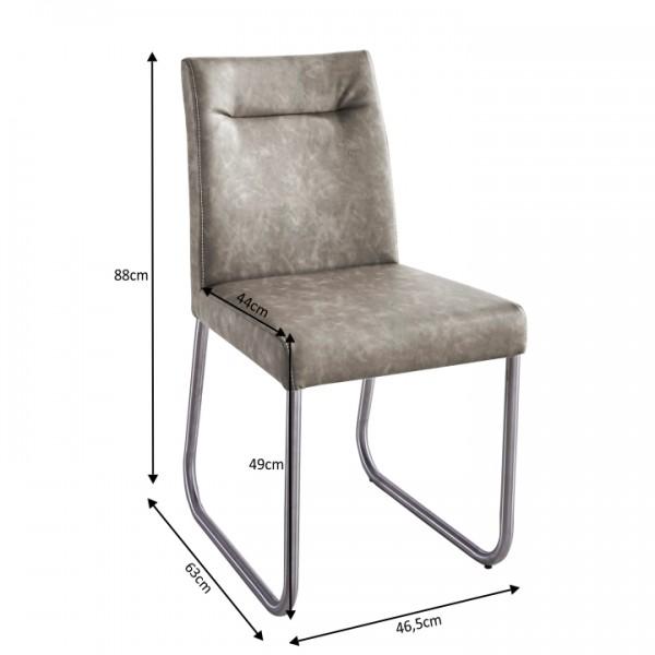 Jedálenská stolička, sivohnedá ekokoža s efektom brúsenej kože, INDRA typ 2