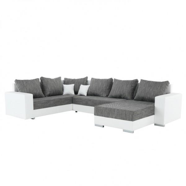 TEMPO KONDELA Rohová sedacia súprava, ekokoža biela/látka sivá, STILO