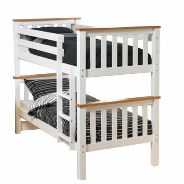 Poschodová rozložiteľná posteľ, biela/hnedá, ROWAN