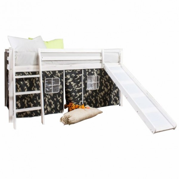 Detská posteľ so šmykľavkou, borovicové drevo biela, VERDI