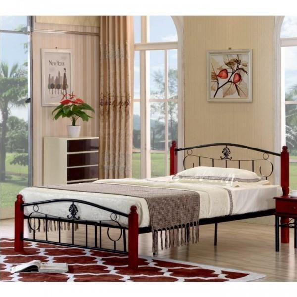 Kovová posteľ s roštom, 140x200, MAGENTA