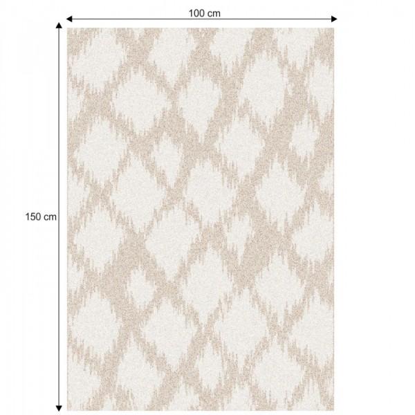 Koberec, krémová/biela, 100x150, LIBAR