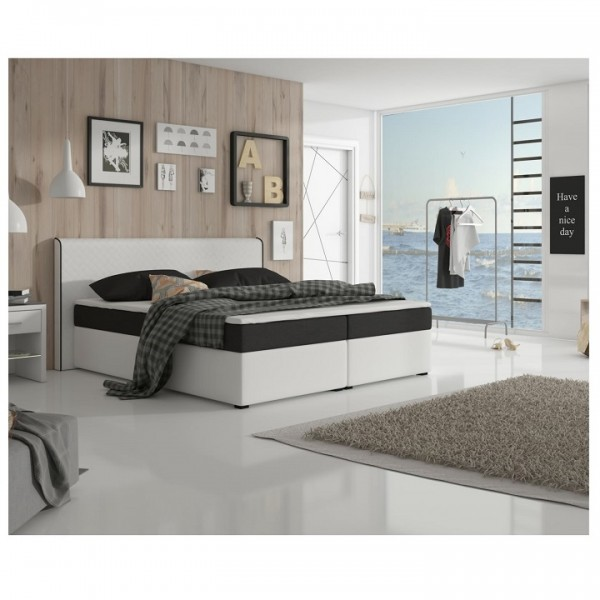 Komfortná posteľ, čierna látka/biela ekokoža, 180x200, NOVARA MEGAKOMFORT