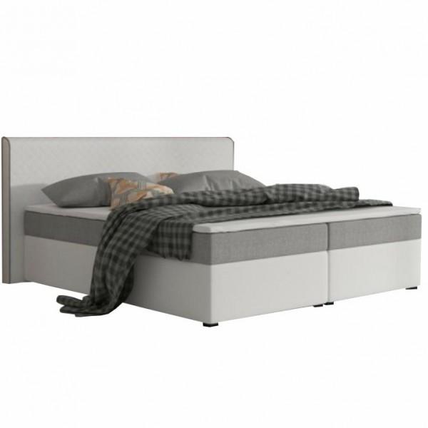 Komfortná posteľ, sivá látka/biela ekokoža, 180x200, NOVARA MEGAKOMFORT