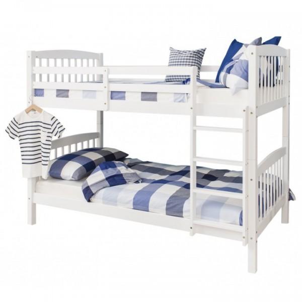 TEMPO KONDELA Poschodová rozložiteľná  posteľ, biela, RAVELO